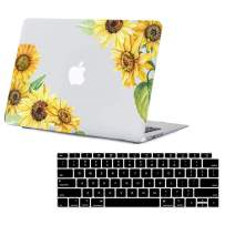 Lapac MacBook Air 13 Inch Case 2020 2019 2018 Release A2179 A1932, New 13 inch MacBook air Case Hard Shell Case & Retina Display Fits Touch ID with Keyboard Cover(Diagonal Sunflower(A2179/A1932))