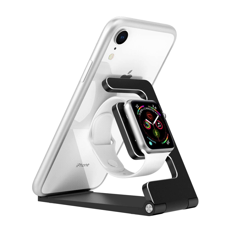 MoKo [2 in 1 iWatch Stand, Folding Charging Station Fit with iWatch Series 5 (40mm & 44mm),iWatch 38mm/40mm/42mm/44mm, iPhone 11 Pro Max/11 Pro/11, iPad Mini, Pro 11,New iPad Air 3, Mini 5, Black