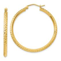 14k Yellow Gold Knife Edge Hoop Earrings Ear Hoops Set Fine Jewelry For Women Gifts For Her