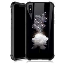 iPhone Xs Max Case,White Rose Butterfly iPhone Xs Max Cases for Girls,Tempered Glass Back Cover Anti Scratch Reinforced Corners Soft TPU Bumper Shockproof Case for iPhone Xs Max Diamond shining Flower