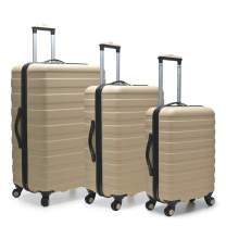 U.S. Traveler Cypress Colorful Hardside Spinner Luggage Set, Sand, 3-Piece Set