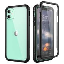"""SURITCH Clear Case for iPhone 11,【Built in Screen Protector】【Support Wireless Charging】 Hybrid Protection Hard Shell+Soft TPU Rubber Bumper Rugged Case Shockproof for iPhone 11 6.1""""(Black)"""