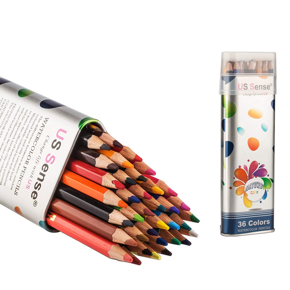 US Sense 36 Watercolor Pencils Set Premier Soft 3.5mm Lead Thicker than Traditional Colored Pencils Ideal for Coloring, Blending and Layering,Artist Drawing Sketching With Brush