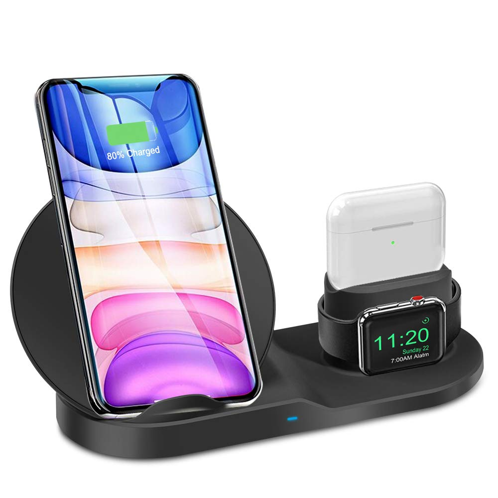 3 in 1 Wireless Charger for iPhone 12/12 pro/12 Pro Max/11/11 pro/11 Pro Max/Xs/XS Max/XR/X/8/8P/AirPod/AirPod 2/ AirPods Pro, Watch Wireless Charging Station Stand for iWatch 1/2/3/4/5