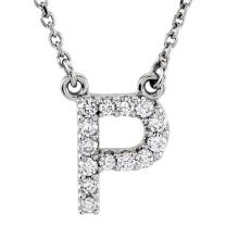 Dazzlingrock Collection 0.12 Carat (ctw) 10K Diamond Uppercase Letter 'A' to 'Z' Initial Pendant (Silver Chain Included), White Gold