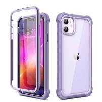 """Dexnor iPhone 11 Case with Screen Protector Clear Rugged 360 Full Body Protective Shockproof Hard Back Defender Dual Layer Heavy Duty Bumper Cover Case for iPhone 11 6.1"""" - Purple"""