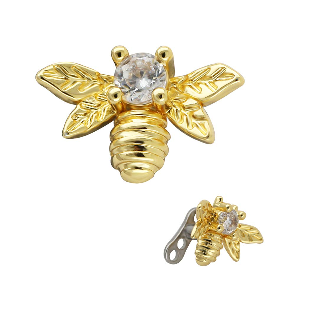 Excepro Dermal Anchor G23 Titanium Multicolor Plated Bees CZ Body Jewelry Anchor Dermal Tops