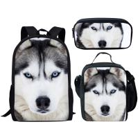 Middle School Backpack Set Lunch Bag Pen Bags For Girls Fashion Book Bag Wolf Print