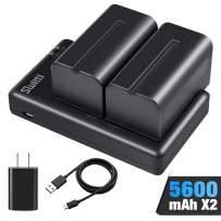 Switti 2-Packs 5600mAh NP-F750 Battery and Dual Slot USB Charger for Sony NP-F550, F570, F750, F770, F930, F950, FM55H, FM500H, QM71, QM91, QM71D and Video Light