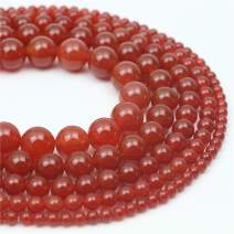 """Oameusa Natural Round Smooth 8mm Red Agate Beads Gemstone Beads Loose Beads Agate Beads for Jewelry Making 15"""" 1 Strand per Bag-Wholesale"""