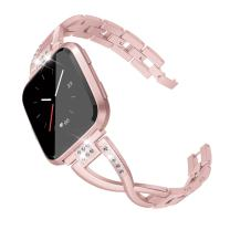 TOYOUTHS Bling Bracelet Compatible with Fitbit Versa/Versa 2 Bands for Women Stainless Steel Wristbands Replacement for Versa Lite Edition/Versa SE Accessories Dressy Metal Strap Bangle Rose Gold