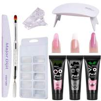 Poly Nail Extention Gel Kit Anself 3 Colors Poly Gel Nail Lamp False Nail Tips Kit Nail Extension Set Gel Nail Builder Enhancement Kit