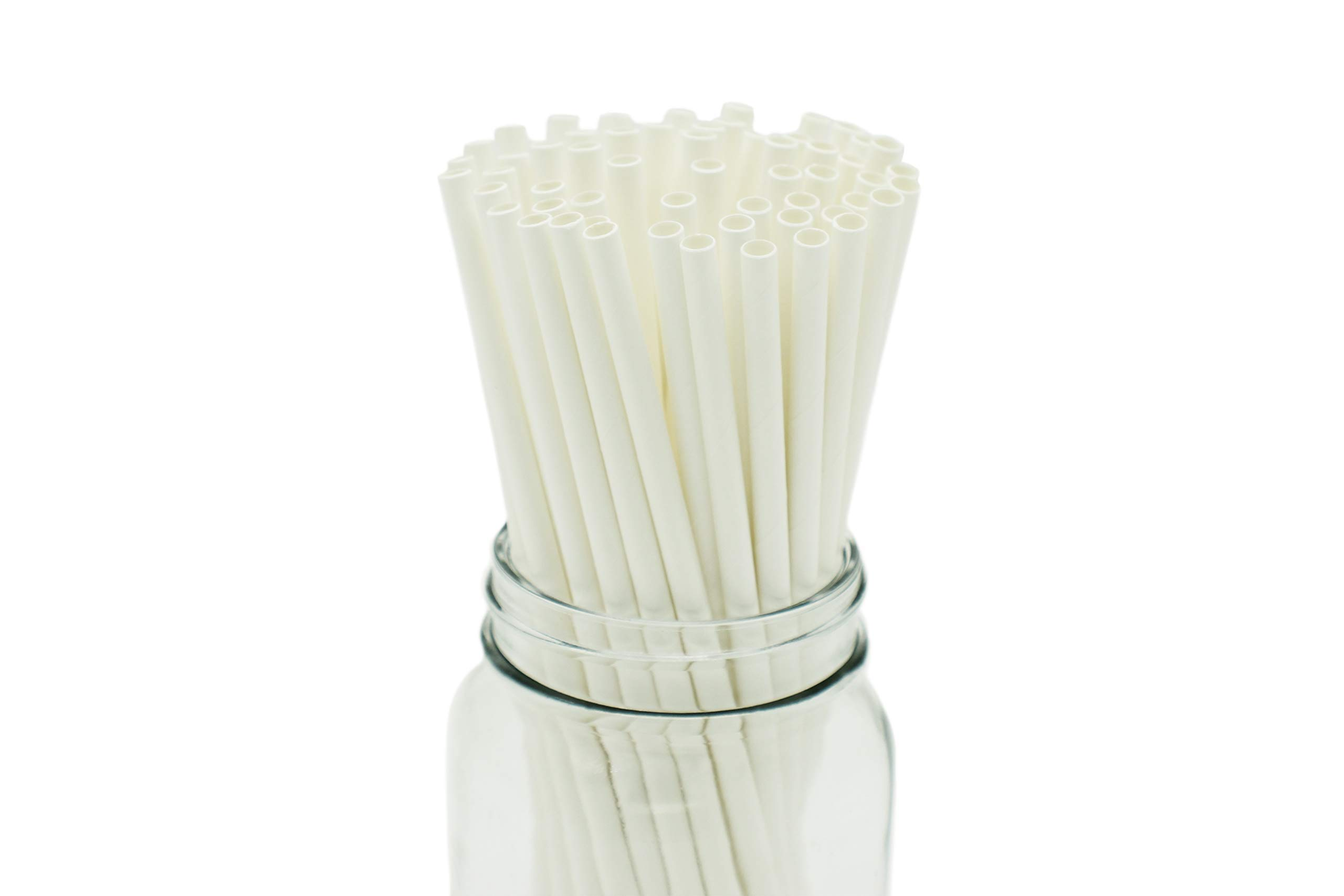 """[100 COUNT] Standard 7.5"""" Disposable Drinking Paper Straws Sturdy Natural White Smoothie Milkshake Milk Tea Restaurant Party (7.5 Inches Long, 6 Millimeters Thick, Dye Free Products, Treestraw"""