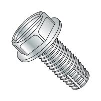 """Steel Thread Cutting Screw, Zinc Plated Finish, Hex Washer Head, Slotted Drive, Type F, 5/16""""-18 Thread Size, 1-1/2"""" Length (Pack of 10)"""