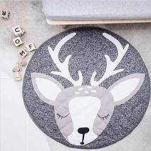 HILTOW Cotton Baby Crawling Mat Cute Deer Play Carpet Children Bedroom Decor Living Room Rugs