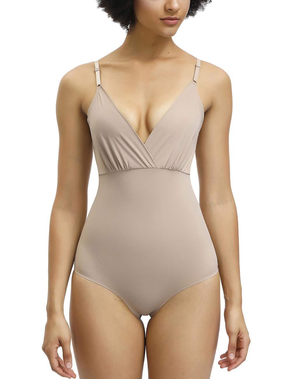 FEDNON Women Comfort Control Shapewear Seamless v Neck Smooth Full Body Shaper