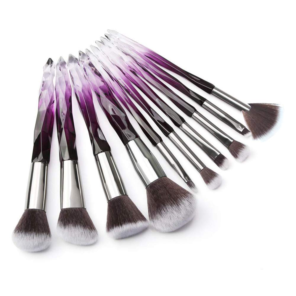 Adpartner 10PCS Makeup Brushes Crystal Handle Makeup Brush Set Premium Rainbow Color, Professional Kabuki Cosmetic Brush for Powder Foundation Concealer Blush Eye Shadow Eyebrow Makeup Kit - C
