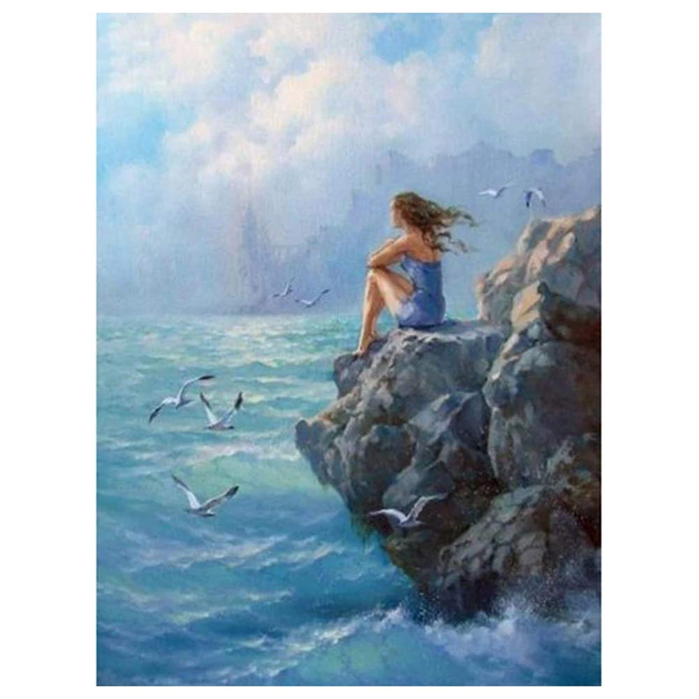 Adarl DIY Oil Painting Girl by The Sea Coloring Canvas, Paint by Numbers Kits for Beginner, 15.75x19.69 inch Paintings for Home Decor