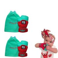 Yummy Mitt Teething Mitten-Self-Soothing Entertainment and Gives Pain Relief from Teething Plus It's an Ideal Baby Shower Gift -Set of Two (2 Red Yummy Mitt)