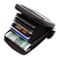 Black Deals Friday Cyber Deals Monday Sales Offer-Compact Leather Mens Womens Zipper Leather Coin Change Credit Card Pouch Purse Holder Wallet with ID Window (Coffee)