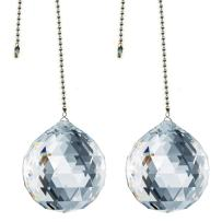 CrystalPlace Ceiling Fan Pull Chain 30mm Swarovski Strass Clear Faceted Ball Prism Decorative Rainbow Maker Fan Pulley Set of 2