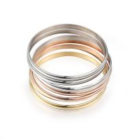Caperci Women's Set of 7 Tri-Color Silver/Gold/Rose Gold Stainless Steel Bracelet Bangle Set 8.4 Inch