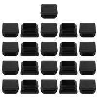 """uxcell 21pcs 38 x 38mm Plastic Square Ribbed Slide Tube Inserts End Cover Cap, for 1.38"""" to 1.46"""" Inner Size, Furniture Chair Table Feet Floor Protector"""