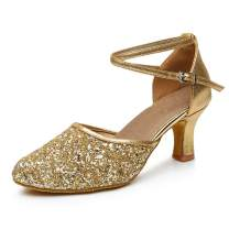 iCKER GetMine Womens Latin Dance Shoes Heeled Ballroom Salsa Tango Party Sequin Dance Shoes