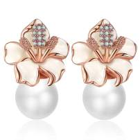 XZP Women's Fashion Earring Gifts Simulated Pearl Flower Stud Earrings with Crystal for Women
