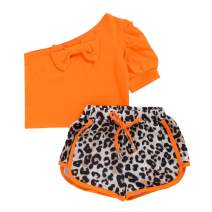 Toddler Baby Girl Summer Outfits Bowknot Off Shoulder T-Shirt Short Sleeve Tops with Leopard Shorts Pants Clothes Set