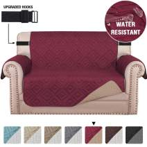 """Quilted Loveseat Slipcover Covers for 2 Cushion Couch Water Repellent Loveseat Couch Cover for Pets Dogs Furniture Protector with Non-Slip Strap (Seat Width 54"""", Reversible Burgundy/Beige)"""