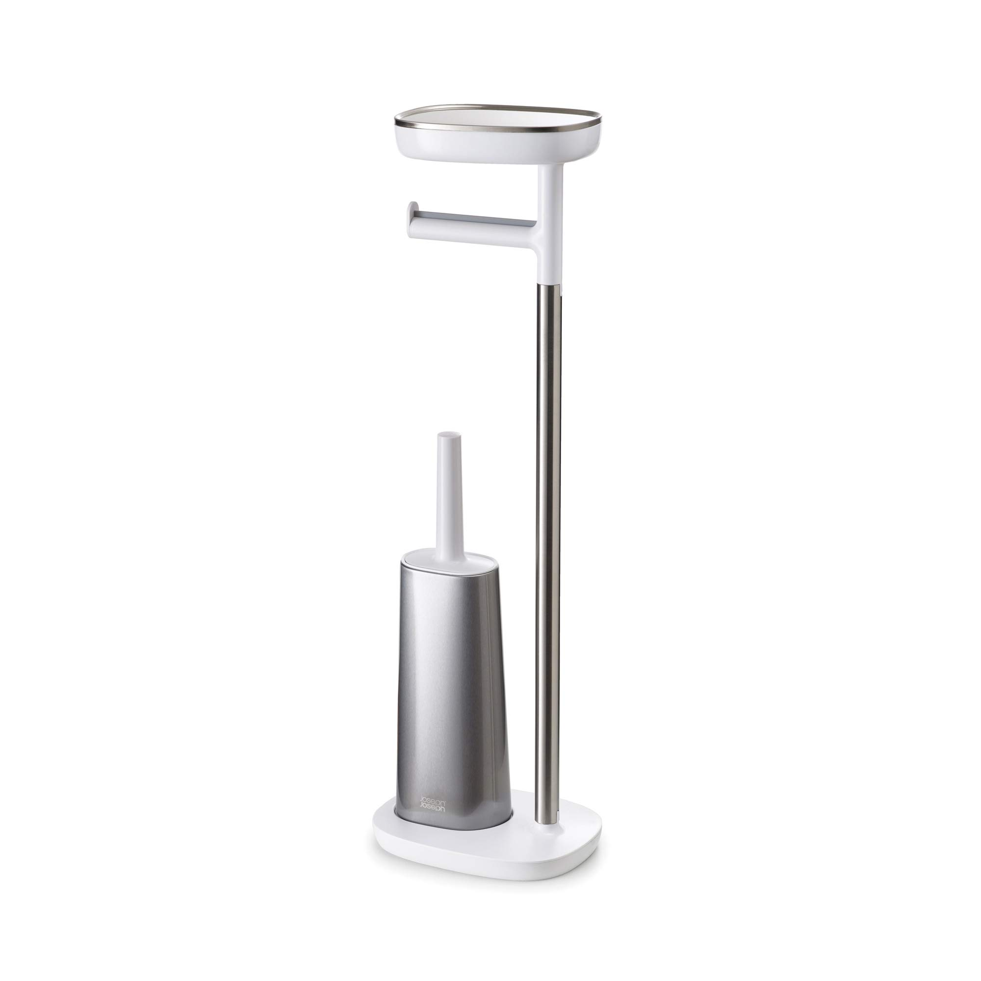 Joseph Joseph 70519 EasyStore Butler Toilet Paper Holder Stand and Flex Toilet Brush with Shelf and Drawer, Stainless Steel