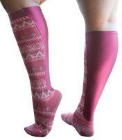 Xpandasox Women's Plus Size/Wide Calf Aztec Stripe/Solid Knee High Socks