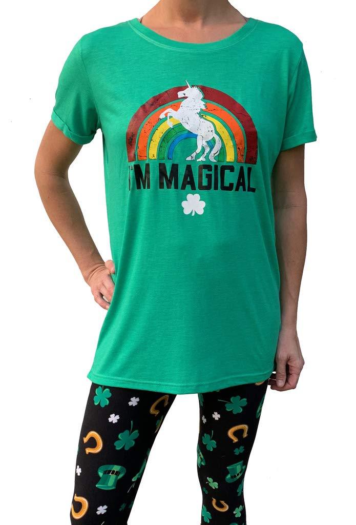 Women's St. Patrick's Day Tunic Longer Length Green T-Shirt - Magical Rainbow Unicorn - Medium