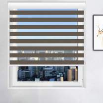 Smalody WOSSON Window Blinds Custom Cut to Size, Formaldehyde Removal Water-Proof Zebra Blinds, Dual Layer Roller Shades Sheer or Privacy, Light Control for Day and Night(Size:W33″×H56″Color:Brown