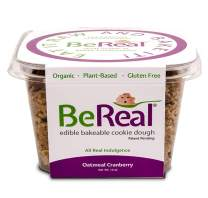 BeReal Doughs Edible and Bakeable Cookie Dough | Organic Gluten-Free and Plant-Based, Ready to Eat and Bakeable Vegan Chocolate Chip Cookie Dough | Allergen Friendly | Oatmeal Cranberry |16 Oz