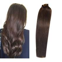 Clip in Real Hair Extensions Human Hair New Version Thickened Double Weft 120g 7pcs Per Set Silk Soft Straight #2 Dark Brown Full Head Remy Hair Clip in Extensions 18 Inch for Women Girls