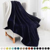 """Walensee Sherpa Fleece Blanket (Throw Size 50""""x60"""" Navy) Plush Throw Fuzzy Super Soft Reversible Microfiber Flannel Blankets for Couch, Bed, Sofa Ultra Luxurious Warm and Cozy for All Seasons"""