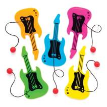 Baker Ross Guitar Plastic Paddle Ball and Bat (Pack of 8) Fun Paddle Ball Game Perfect for Party Favors