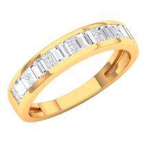 Dazzlingrock Collection 0.60 Carat (ctw) 10K Gold Princess & Baguette White Diamond Ladies Wedding Band