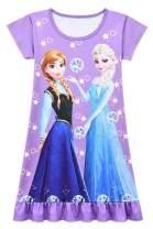 WNQY Little Girls Princess Pajamas Toddler Nightgown Dress (Purple,130/5-6X)