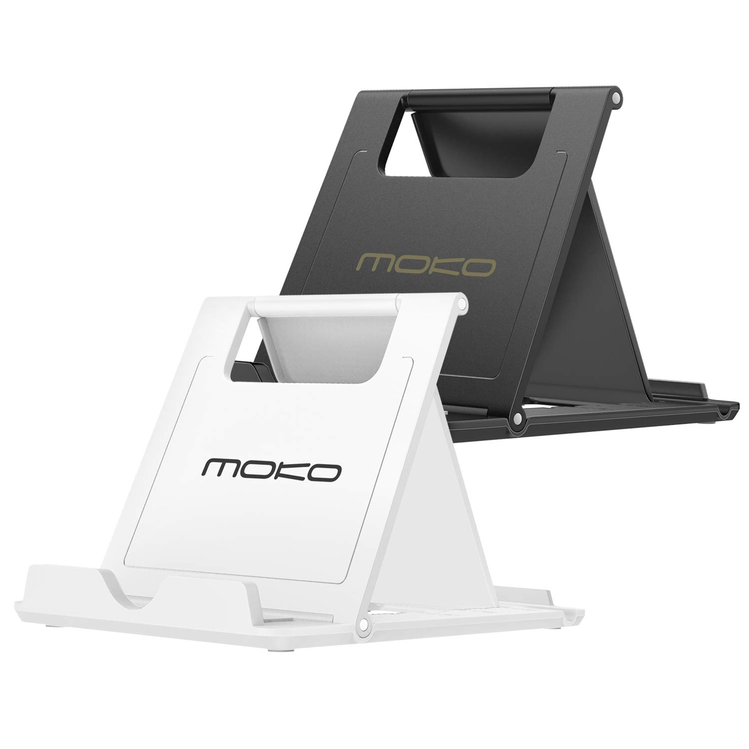 """MoKo [2 Pack] Phone/Tablet Stand, Foldable Holder Fit with iPhone 11 Pro Max/11 Pro/11, iPhone Xs/Xs Max/Xr/X, iPhone SE 2020, iPad Pro 11 2020/10.2/Air 3/Mini 5, Galaxy S20 6.2"""", White + Black"""