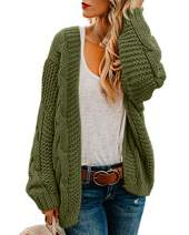 Ferrtye Womens Cable Knit Cardigans Chunky Open Front Long Sleeve Casual Sweaters