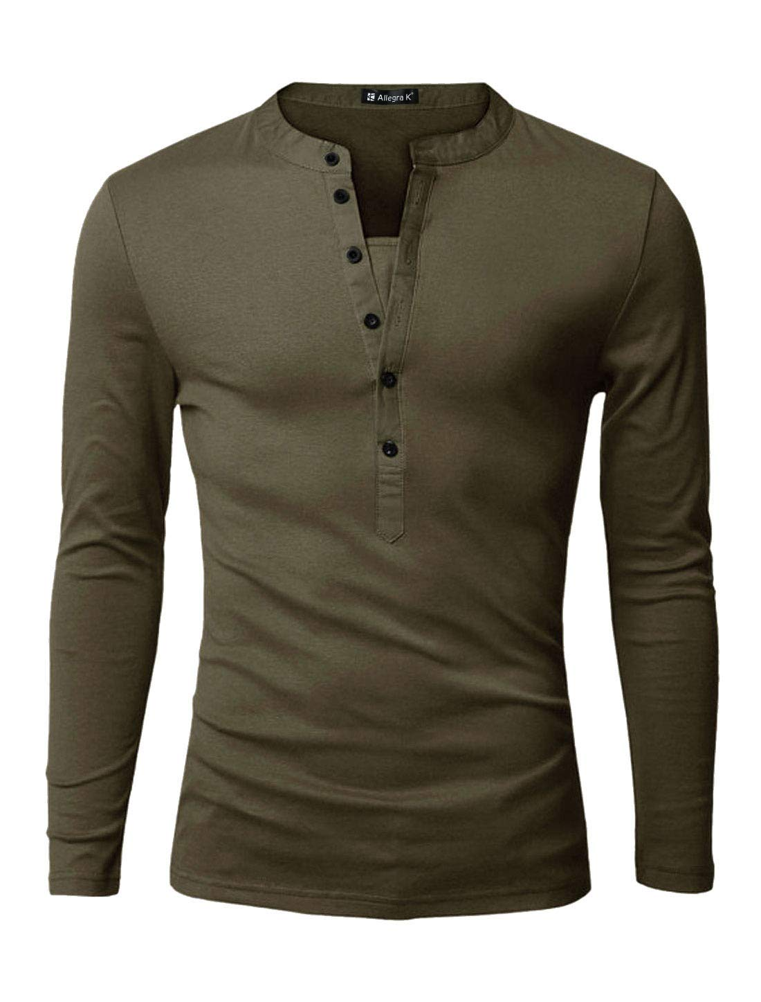 uxcell Men Split Neck Long Sleeves Button Upper Casual Tops
