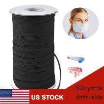 100 Yards 1/8 Inch Width Elastic Band, High Elastic Rope, for Sewing Mask Knitting Crafts DIY Ear Band Loop, Cuff, Bedspread, Tailor Scissors Tailor Ruler (Black, 100 Yards × 1/8 inch)