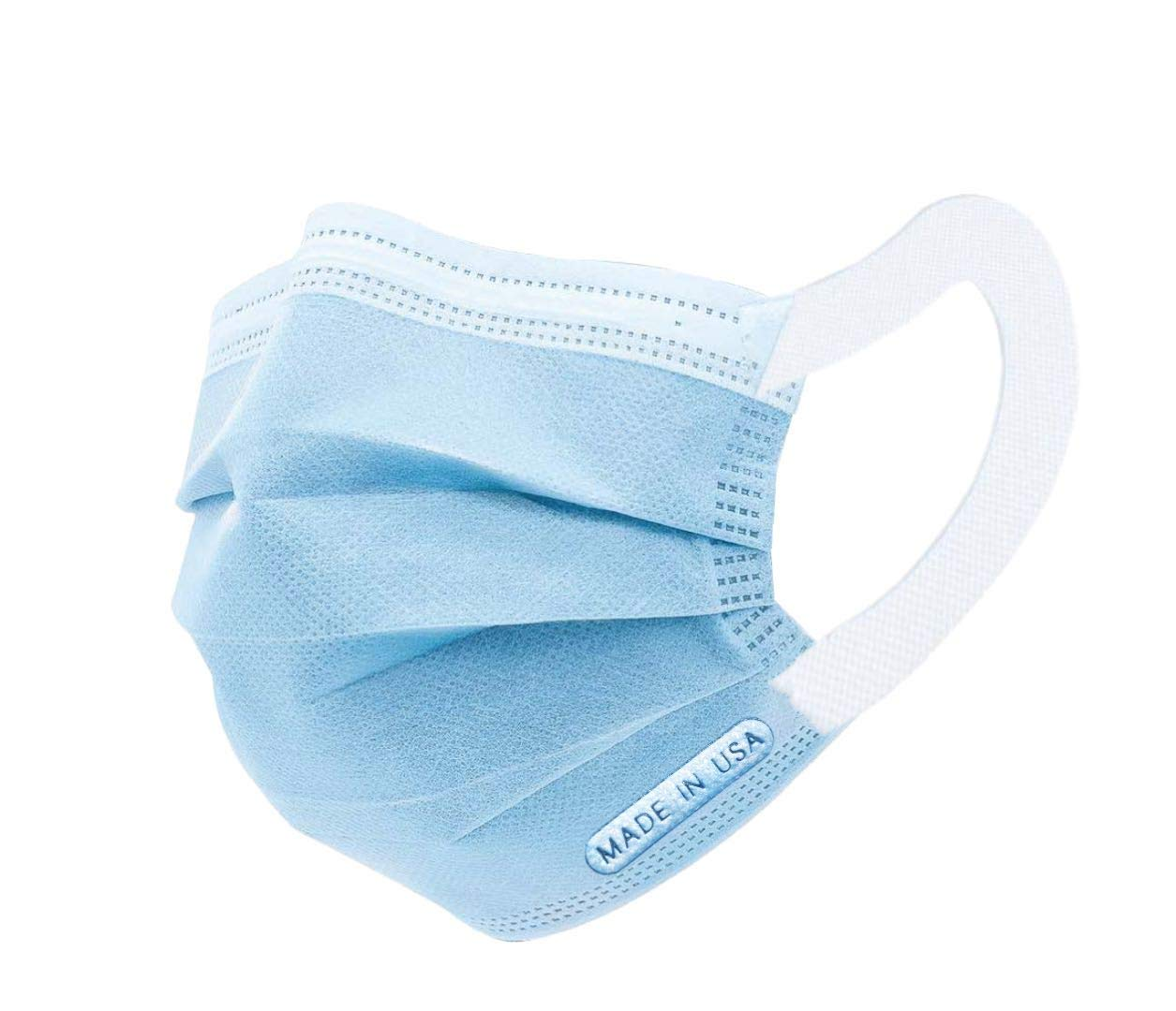 Made in USA, Disposable Face Mask 50 Pcs, 3-Ply, Comfort elastic earloop band, Personal protection