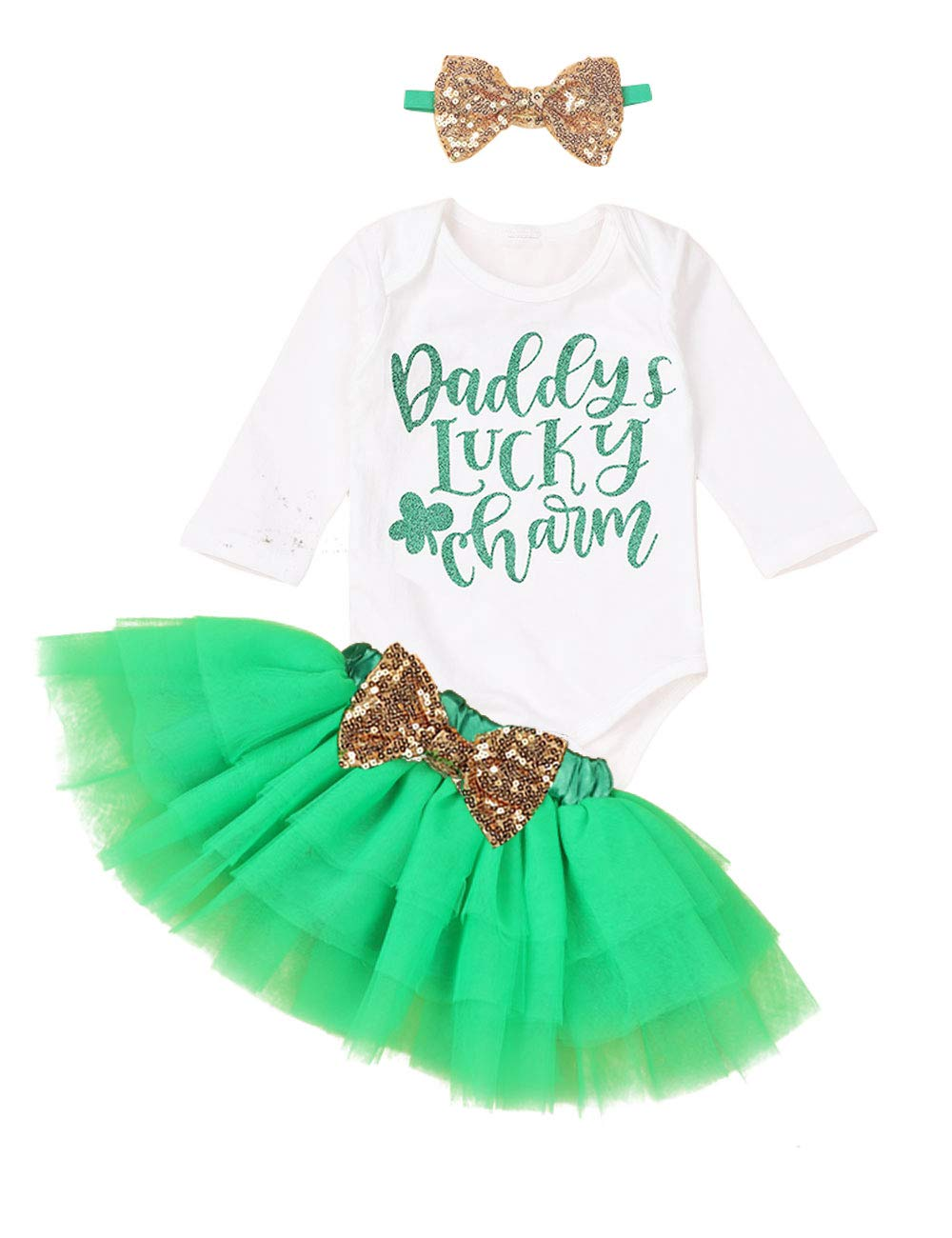 St. Patrick's Day Outfits Newborn Baby Girl Daddy's Lucky Charm Short Sleeve Romper + Tutu Skirt + Sequin Headband Clothes