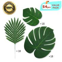 LASPERAL 54 Pcs 3 Kinds Artificial Large Palm Leaves Faux Tropical Leaves Palm Branches Safari Leaves Hawaiian Luau Party Suppliers Palm Leaves Decorations