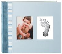 Pearhead First 5 Years Suede Binding Baby Memory Book with Included Clean-Touch Baby Safe Ink Pad to Create Baby's Hand or Footprint, Blue
