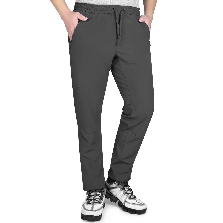 Outdoor Ventures Men's Sweatpants with Zipper Pockets Quick-Dry,Stretchy Elastic-Waist Drawstring Pants